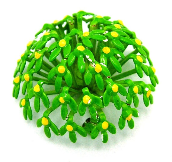 Vintage Enamel Brooch Green Flower Dome With Little Yellow Dots