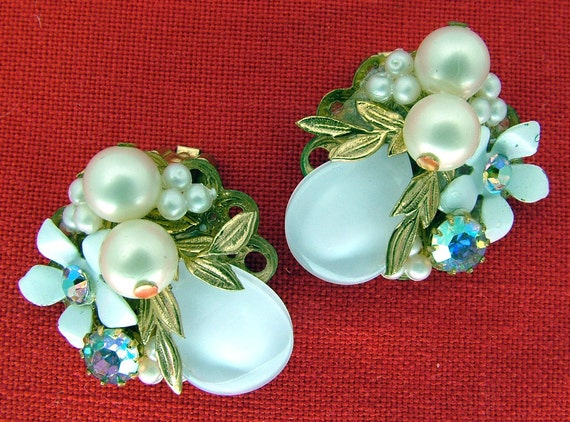 Reserved For Bettsies Vintage Floral Earrings with Lucite, Pearls, and Aurora Borealis Rhinestones