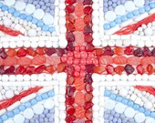 Union flag sweets photo, British, red white and blue, 6x4 print