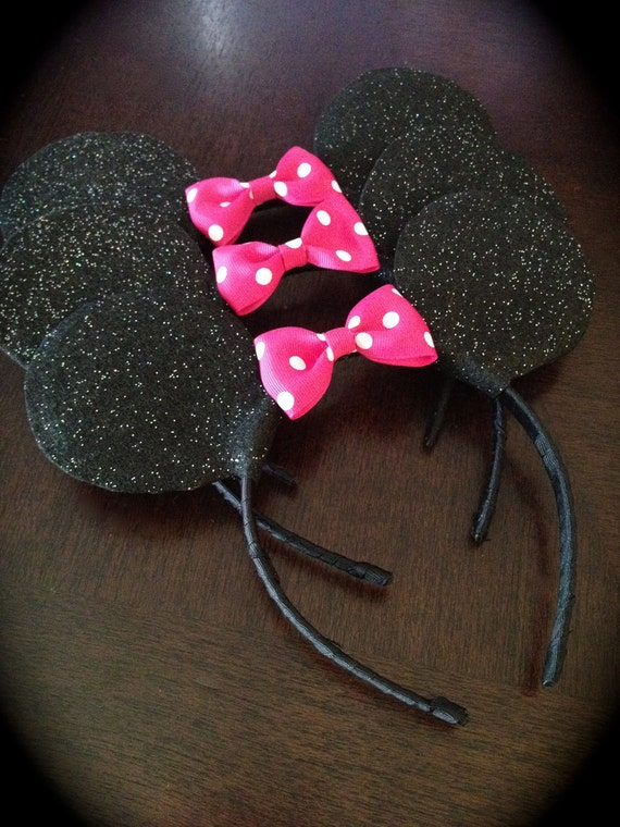 RESERVED for mdgann - Glitter Minnie Mouse Ears with Hot Pink Bow with White Polka Dots Single Set
