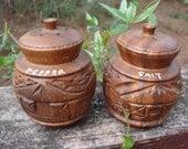Vintage carved wood salt and pepper shakers