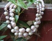 Pale Pink 3 strand vintage necklace