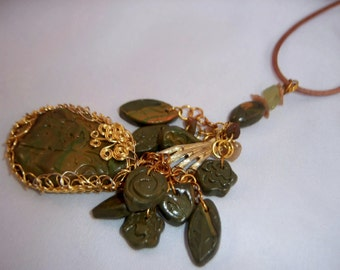 Green Polymer Clay Charmed Pendant Necklace Set