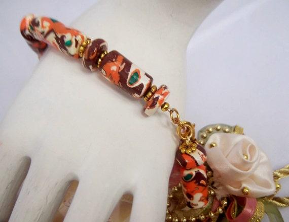 Mokume Gane Polymer Clay Barrel Bracelet Set