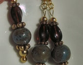 Earth Mother - turquoise, ceramic and dark topaz  earrings and pendant