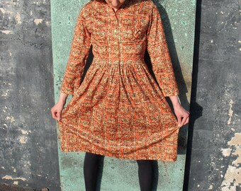 Peak Foliage Orange Vintage Dress