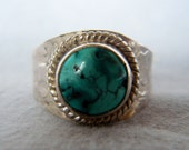 Sterling Silver and Turquoise Ring size 8  Fathers Day