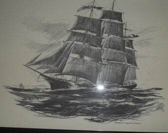 CYBER MONDAY  Ship Art - Black and White Lithograph