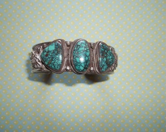 Silver and Red Mountain Turquoise Cuff Bracelet  Free Ship in USA  Black Friday, Cyber Monday, Christmas