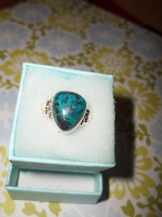 Sterling Silver Southwest Native Shatiukite Turquoise Ring  Size 9 1/2