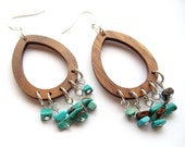 large teardrop earrings // wood and turquoise