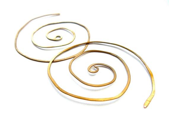 wabi sabi wire spiral earrings // antiqued bronze jewelry