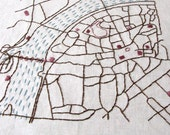 Prague Old Town Embroidered Map