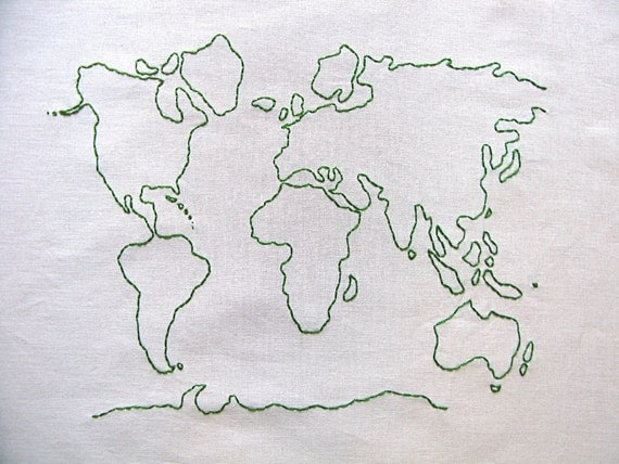 Earth Day Embroidered World Map