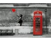Banksy London phone box England print photo