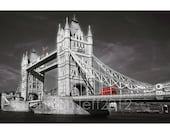 TOWER BRIDGE red bus London England black and white photo print