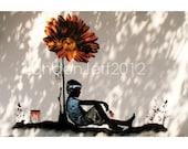 Banksy BOY SUN FLOWER London England print photo  graffiti