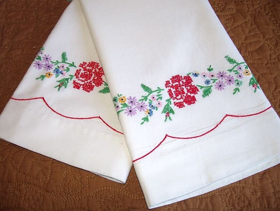 Vintage Red Rose Pillowcases / Cross Stitch Embroidery / Hand Embroidered Pillowcase Pair