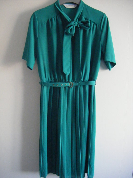 Vintage Women's Cute Pleated St Michael Dress with Tie-up Bow Size 12 UK