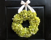 Reseved listing for lhylcn  - Large Green Hydrangea Wreath with Ivory Ribbon