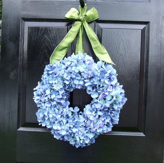 Blue Hydrangea Wreath with Sage Green Ribbon