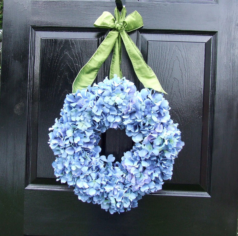 Blue Hydrangea Wreath With Sage Green Ribbon