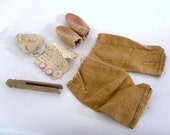 WB - Artist's Supply: 1910's Primitive Folk Toymaking Kit - Rabbit Ears, Doll Pants, Clothes Pin, Cotton, Straight Pins