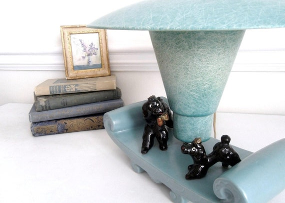 RESERVED for G: Retro Poodle Table Lamp. Blue Atomic Style. Hollywood Kitsch. Mid Century Eames