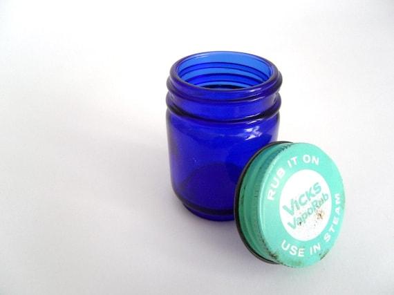 Cobalt Blue Glass Jar -  Vicks Vaporub.