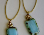 Jewelry, Earrings, High Fashion Earrings, Gold Hoop Earrings,Sea Foam Blue Czech Beaded Earrings, Summer Earrings, Easter Earrings
