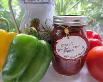 SUGO  di POMODORO con PEPERONI-  Sauce with tomatoes and bell peppers- 16 oz. jar
