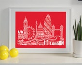 London Skyline Typography Print Red