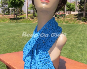 Electric blue crochet  skinny scarf Made to order Free Shipping and Free Gift Wrapping