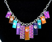 DICHROIC GLASS   Sterling Silver Chameleon Necklace Handmade