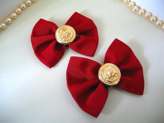 1970s-1980s RED Preppy SHOE CLIPS Ornaments Bows Vintage