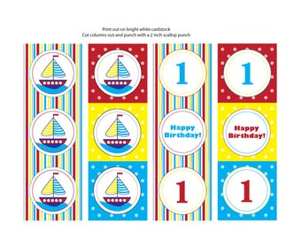Sailboat Theme Cupcake Toppers/Tags