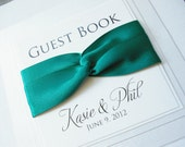 Handmade Wedding Guest Book - Personalized with Bride & Groom's Name.  Entwined Satin Ribbon.
