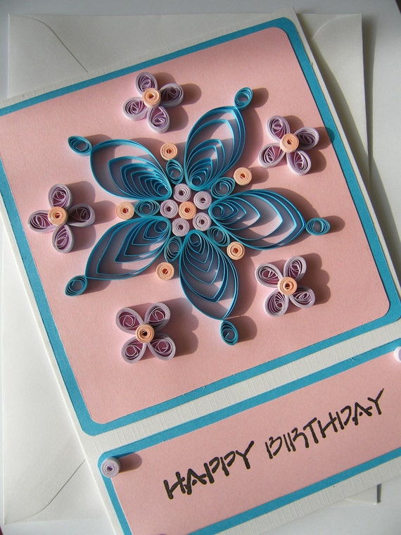 Quilled pink and blue flower greeting card happy birthday
