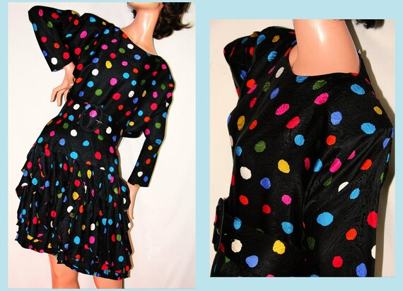 Vintage 80s POLKA DOT Silk mini Dress cocktail party prom Tiered Ruffle Batwing belt  GILLIAN xs-small