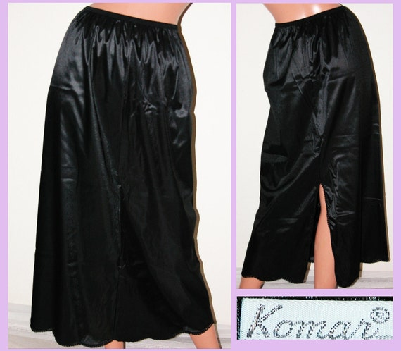 Vintage Black Taffeta Half Slip / Skirt  formal NOISY -KOMAR- Sz M