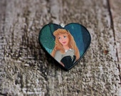 SLEEPING BEAUTY Heart PENDANT Princess Aurora fairytale Charm