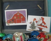 Set of 2 Vintage Current Stationery Christmas Postcards