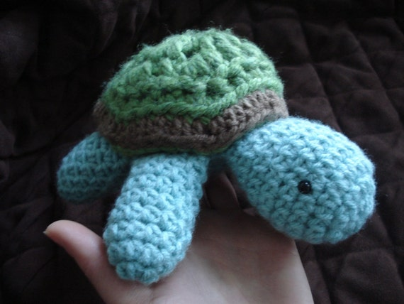 Little green baby turtle, crocheted toy