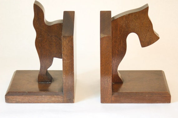 Vintage Wooden Scotty Bookends
