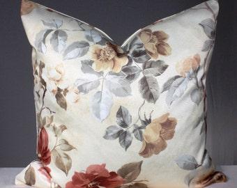 Decorative Pillow Cover 18 x 18 Throw Pillow Designer Accent Pillow Cushion Case Floral Euro Sham Satin Roses Cream Green Yellow
