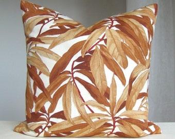 Pillow Cover Brown Pillow Case 18 x 18 Throw Pillow Designer Accent Pillow Cushion Case Brown White Euro Sham