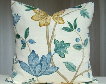 Decorative Pillow Cover Throw Pillow Accent Pillow 18 x 18 Cushion Case Euro Sham Blue Beige Green Floral Pillow