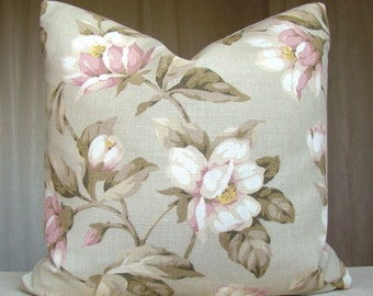 Decorative Pillow Cover Throw Pillow Case Accent Pillow Cushion Case Laura Ashley Designer Pillow Cover Pink Beige Roses 18 x 18