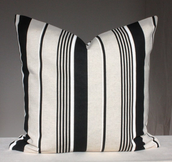 Decorative Pillow Cover Grey Black Striped Pillow 18 x 18 Throw Pillow Case Cushion Cover Accent Pillow White Stripes
