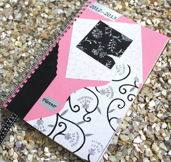 Fashion Planner (Weekly and Monthly, 2012-2013) with Pink and Black Collage Cover